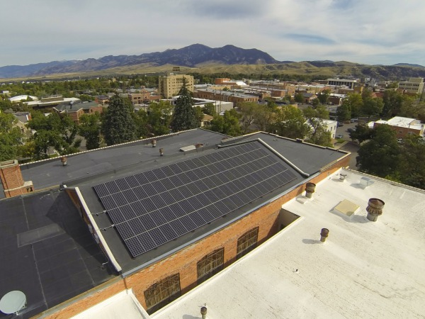 The Emerson Center solar array in front of Bozeman, MT