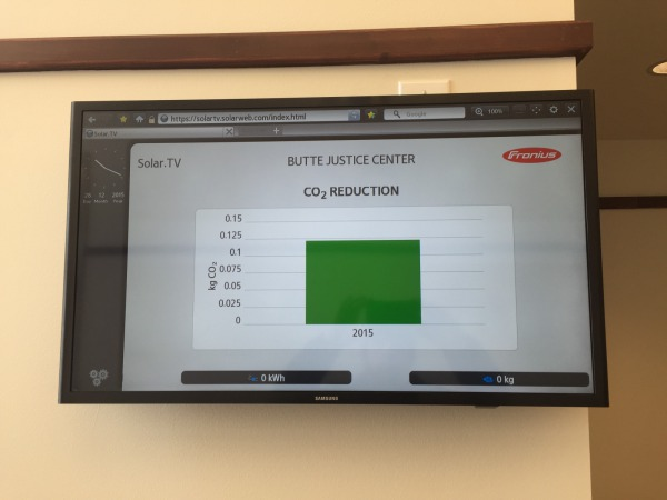 The informational kiosk located in the lobby displays all of the solar power production metrics for the system