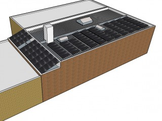 Conceptual rendering of the solar installation on the building during the development stage