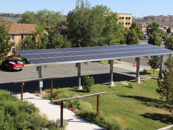 Front view of solar carport