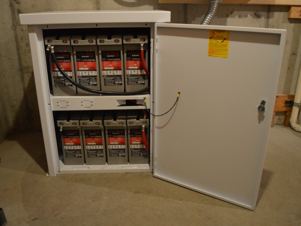 Sealed, AGM batteries in a powder-coated enclosure cabinet