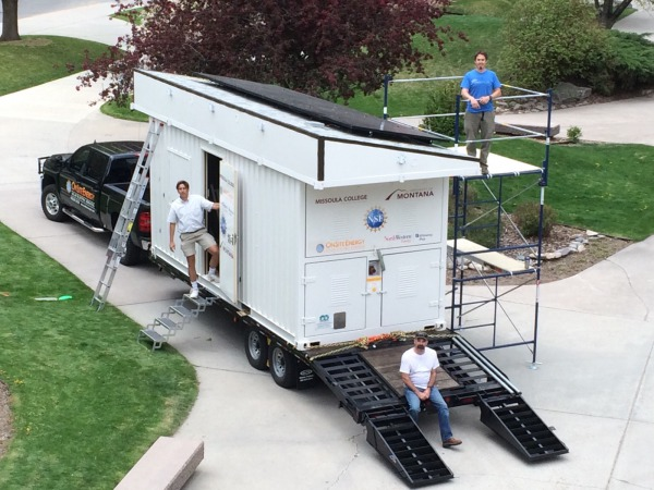 Showing off the mobile solar training lab at University of Montana's UC Commons